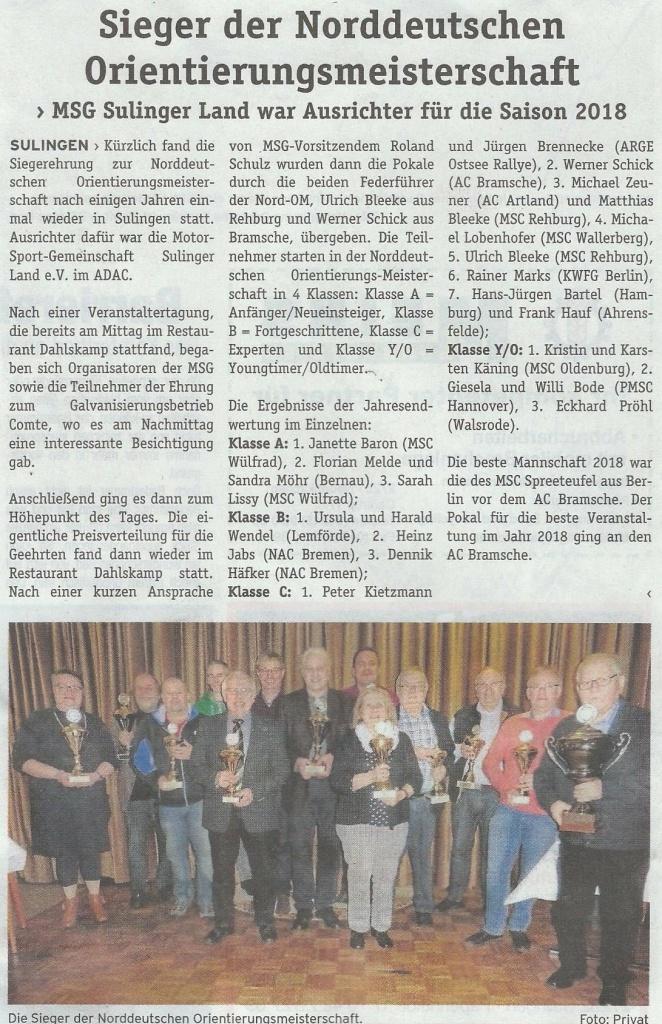 Pressebericht zur Siegerehrung der Nord OM